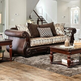 Alessio Two  Seater Cushiony Sofa Traditional Style, Brown