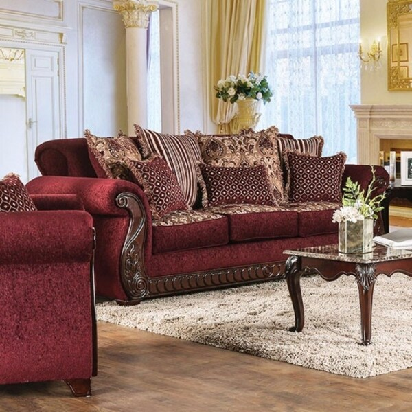 Tabitha Traditional Style Fabric Leatherette Sofa