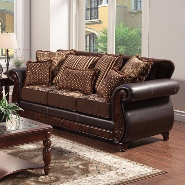 Franklin Traditional Style Sofa In Dark Brown And Cherry