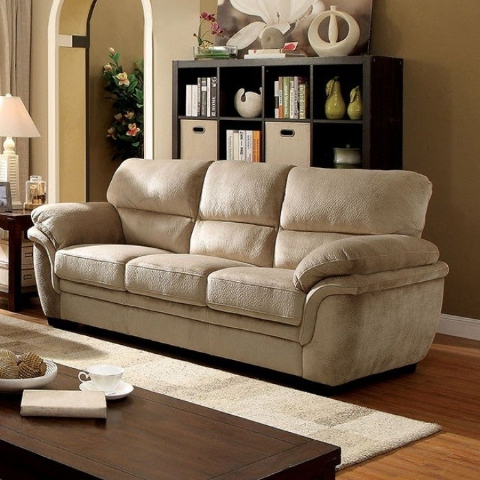 Benzara Jaya Light Brown Microfiber Transitional Sofa (Ve...