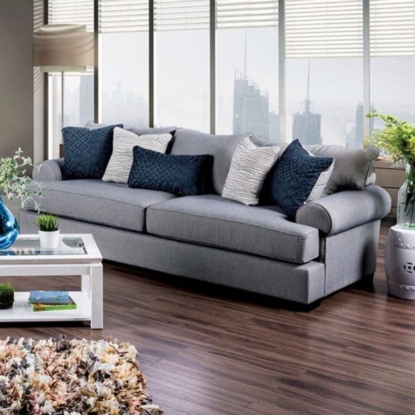 Gilda Transitional Style Sofa In Gray