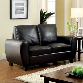 benzara hatton style black leather loveseat
