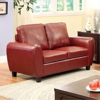 Benzara Hatton Mahogany Red Leatherette Loveseat|https://ak1.ostkcdn.com/images/products/18231655/P24371614.jpg?impolicy=medium