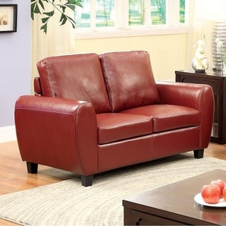 benzara hatton mahogany red leatherette loveseat