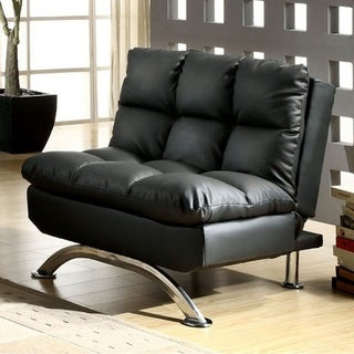Aristo Contemporary Aristo Single Sofa Chair With Leather, Black