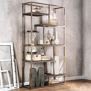 Elvira Champagne-finish Contemporary Display Shelf