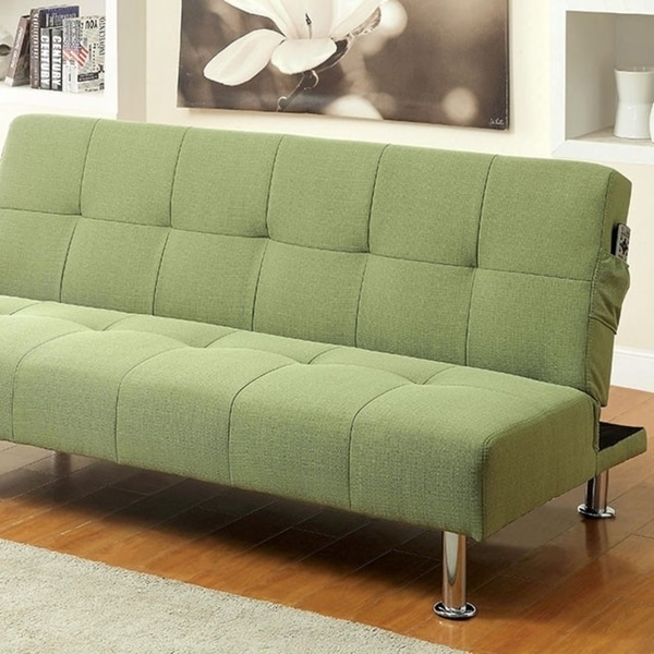 Dewey Contemporary Futon Sofa With Side Pockets Green Flax Fabric
