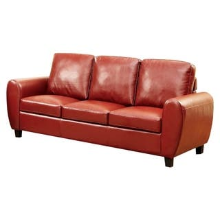 Benzara Hatton Mahogany Red Leatherette Sofa|https://ak1.ostkcdn.com/images/products/18231731/P24371690.jpg?impolicy=medium