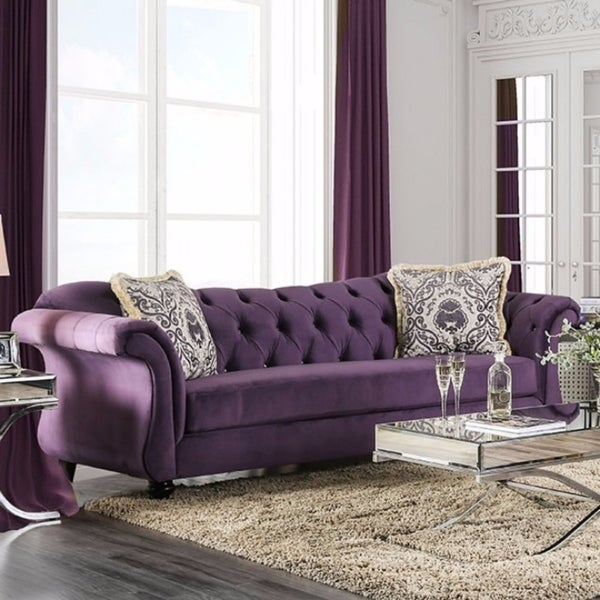 Shop Comfy Sofa With Button Tufting, Purple