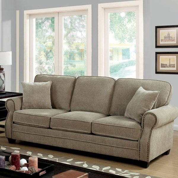 Genial Lynne Transitional Style Chenille Fabric Sofa, Brown