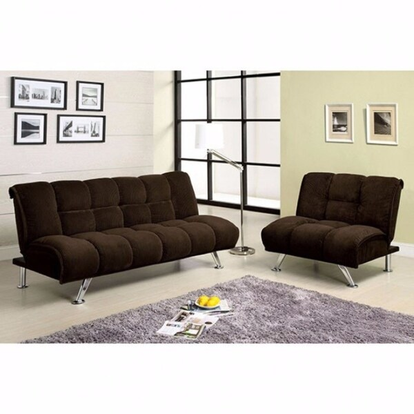 Maybelle Futon Sofa Contemporary Style Chocolate