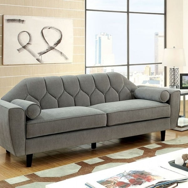 Ester Contemporary Style Tufted Sofa With Rolled Pillows, Gray