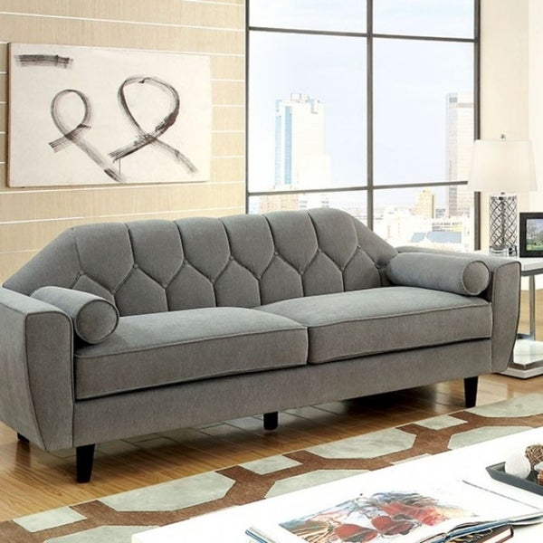 Sofa Pillows Contemporary: Shop Ester Contemporary Style Tufted Sofa With Rolled