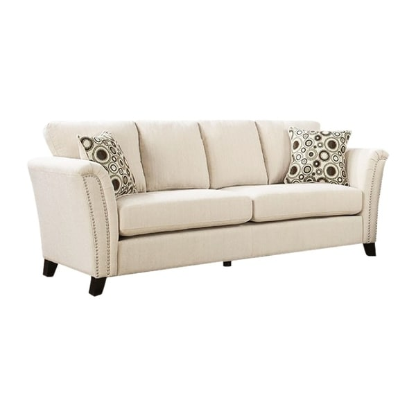 Shop Campbell Contemporary Style Sofa With Nail Trim, Ivory - Free ...