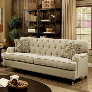 Benzara Laney Beige Linen Upholstered Button Tufted Sofa