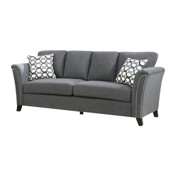 Campbell Contemporary Style Sofa With Nail Trim Gray