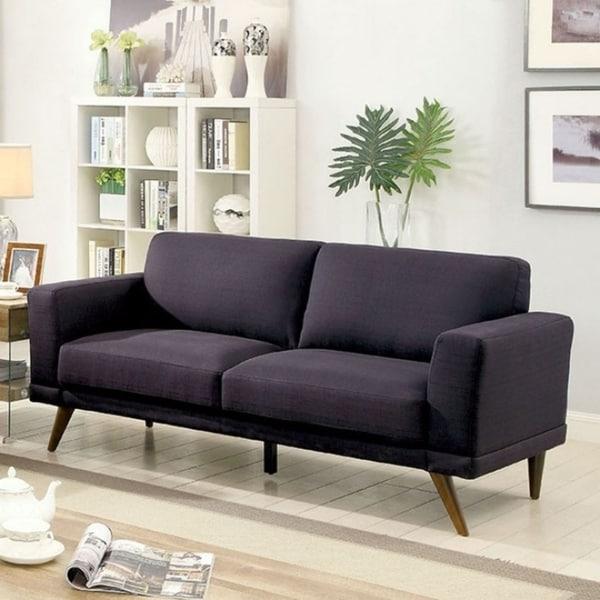 Janie Mid Century Modern Style Sofa, Black