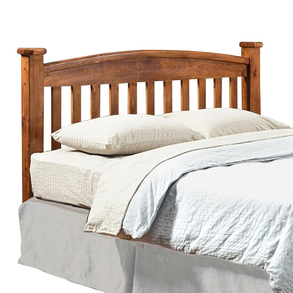 Solid Wood Queen Size Headboard with Slatted Design, Rustic Brown