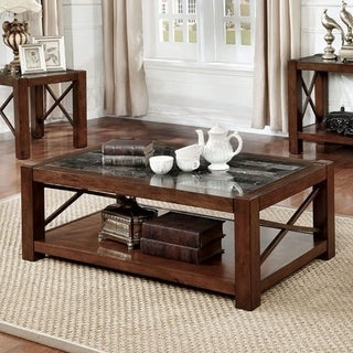 Benzara Rani Cayman Brown Cherry-finish Wood/Marble Transitional Coffee Table