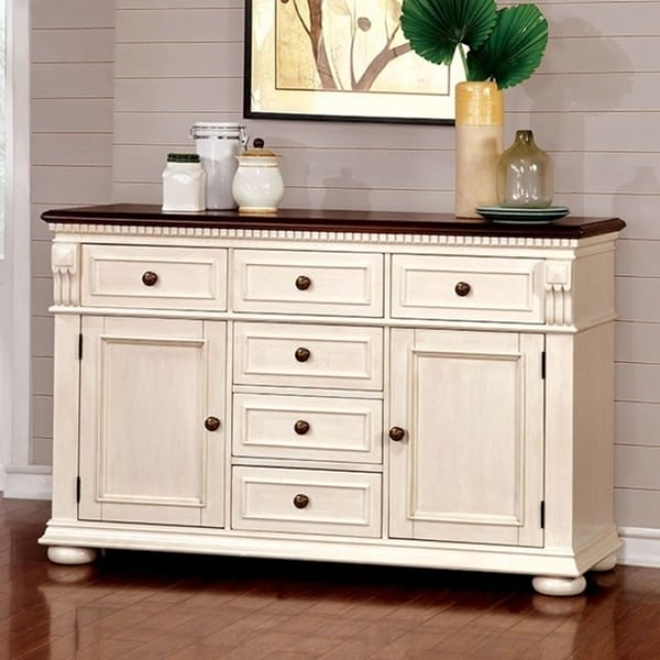 Sabrina Transitional Style Server In White And Cherry