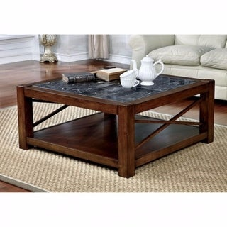 Benzara Rani Brown Cherry-finish Wood Square Transitional Coffee Table