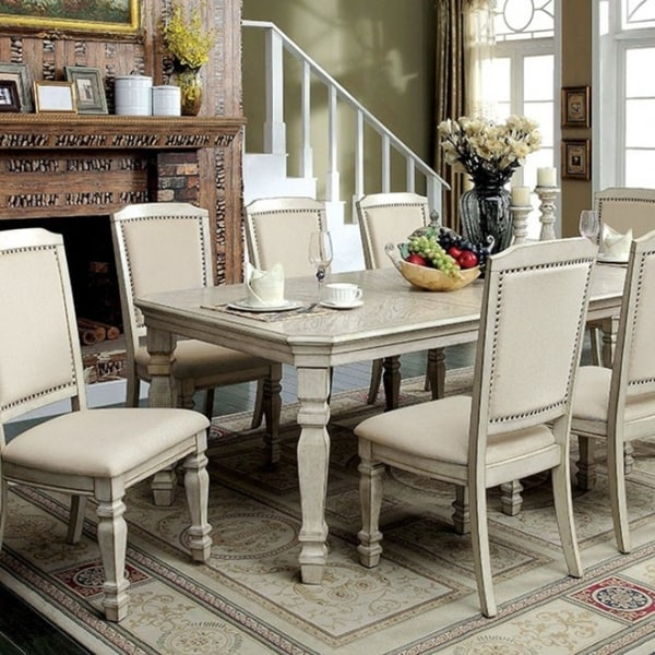 Genial Holcroft Transitional Style Dining Table, Antiqued White