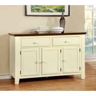Benzara Harrisburg Vintage White/Dark Oak Wood Cottage Server