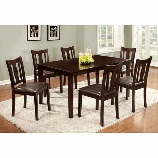 Benzara Espresso Finish Leatherette/Wood 7 Piece Dining Table Set, Chairs  With PU