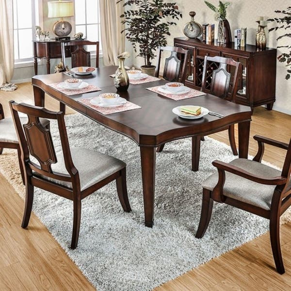 Stevensville Traditional Style Dining Table, Brown Cherry Finish