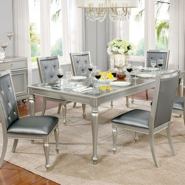 Sarina Silver/Gray Wood/Glass Contemporary-style Dining Table
