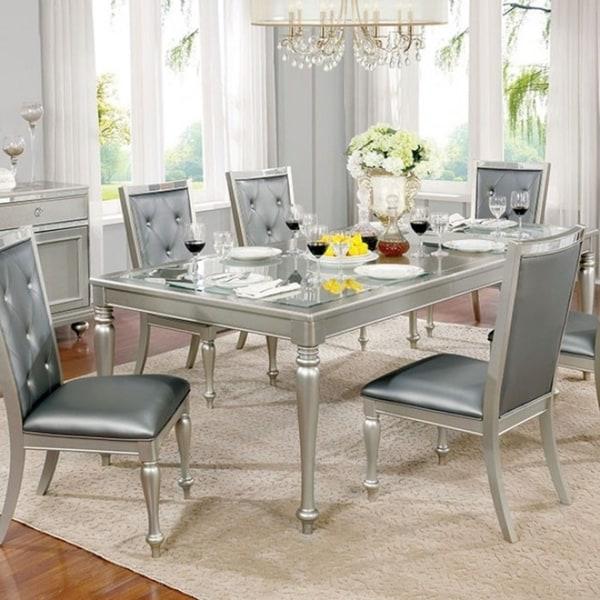 Sarina Contemporary Style Dining Table, Silver Gray Finish
