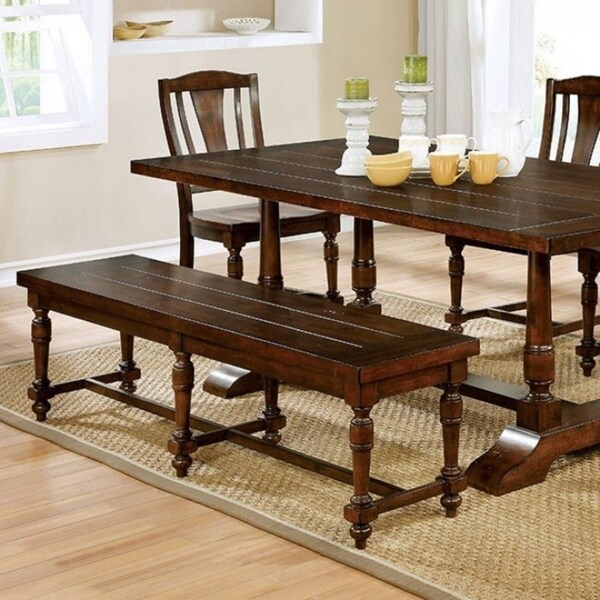 Exceptionnel Griselda Transitional Style Dining Table, Brown Cherry Finish