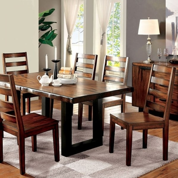 Maddison Contemporary Style Dining Table Oak Finish Free Shipping Today 18232206