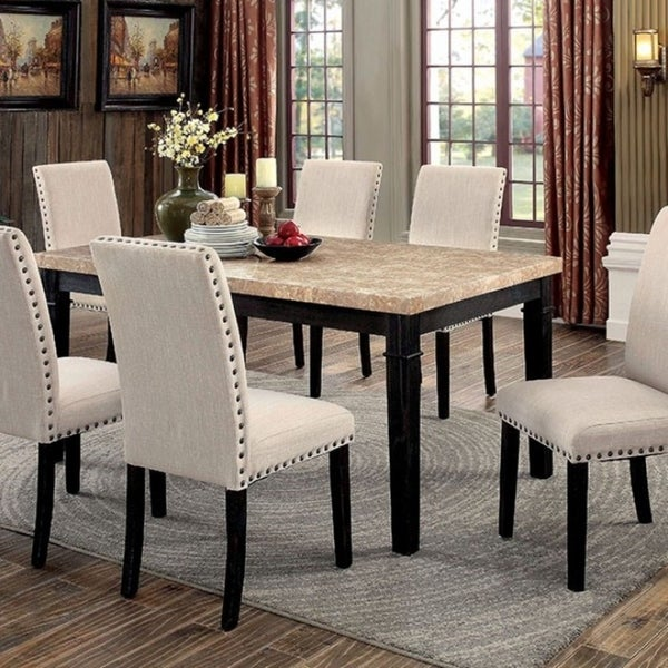 Dodson I Marble Top Transitional Dining Table Black Finish