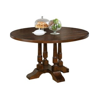Griselda Brown Cherry Wood Plank-style Round Dining Table