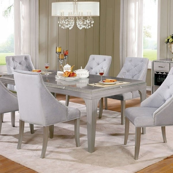 Diocles Contemporary Style Dining Table With Tapered Legs Silver Free Shipping Today 18232218