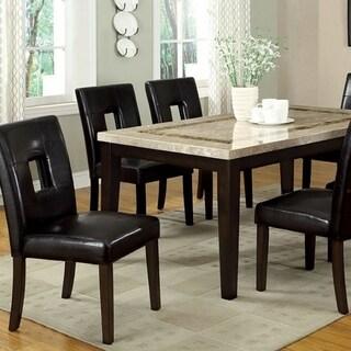 Benzara Lisbon I Dark Walnut Finish Wood Rectangular Dining Table with Marble Top