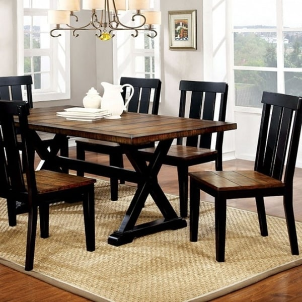 Alana Transitional Plank Style Dining Table Antiqued Oak Black Finish Free Shipping Today 18232225