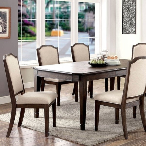 Haylee Transitional Style Six Seater Dining Table, Brown