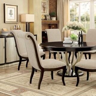 Benzara Ornette Contemporary Espresso and Champagne Finish Wood Round Table