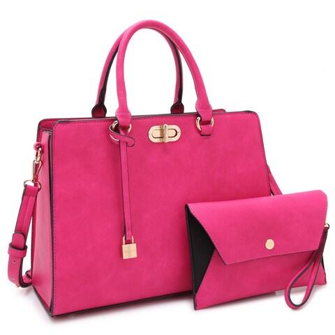 Dasein Faux Leather Padlock Accent Twist Lock Satchel Handbag with Matching Wristlet