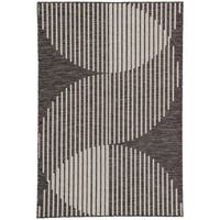 "Nikki Chu Tangra Indoor/ Outdoor Geometric Dark Gray/ Silver Area Rug - 2'x3'7"""