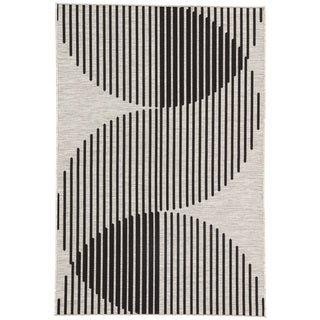 "Nikki Chu by Jaipur Living Tangra Indoor/ Outdoor Geometric Silver/ Black Area Rug (2' X 3'7"")"