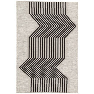 "Nikki Chu Minya Indoor/ Outdoor Geometric Silver/ Black Area Rug (2' X 3'7"")"