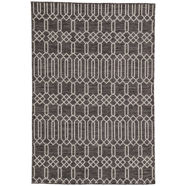 Nikki Chu Calcutta Indoor/Outdoor Geometric Dark Grey/Silver Area Rug (7'11 x 10)