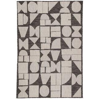 Nikki Chu by Jaipur Living Zulu Indoor/Outdoor Geometric Dark Grey/Silver Area Rug - 7'11 x 10'