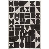 Nikki Chu Zulu Silver/Black Geometric Indoor/Outdoor Area Rug (7'11 x 10')