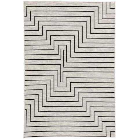 "Nikki Chu Xantho Silver/Black Geometric Outdoor Area Rug (7'11 x 10'0) - 7'11"" x 10'"