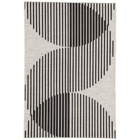 "Nikki Chu Decora Tangra Indoor/Outdoor Geometric Silver/Black Area Rug (7'11 x 10') - 7'11"" x 10'"