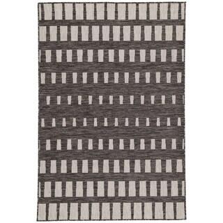 Nikki Chu Decora Vaise Dark Gray/Silver Geometric Area Rug (7'11 x 10')